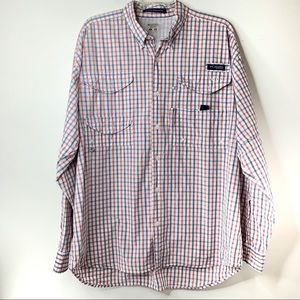 COLUMBIA Long Sleeve Plaid PFG Fishing Shirt LARGE